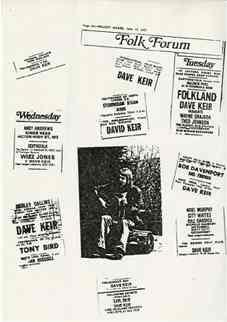 "Dave Keir \"""" The Melody Maker Folk Club Listings, c 1975"